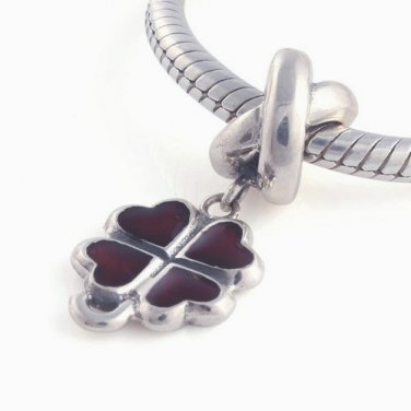 925 Sterling Silver Four Leaf Clover Red Pendant Charm - fits European Beads Bracelets