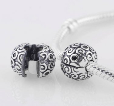925 Sterling Silver Black Abstract Squiggle Clip Bead -  fits Pandora/Troll/Biagi European Bracelet