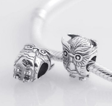 925 Sterling Silver Vintage Owl Charm Bead - fits European Beads Bracelets