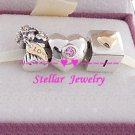 925 Sterling Silver LOVE YOU Charm Beads Gift Set - fits European Beads Bracelets