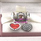 925 Sterling Silver A LOVING DAUGHTER Charms Gift Set - fits European Beads Bracelets