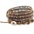 Shimmering Crystals - Chan Luu Inspired 5 Wrap Brown Leather Bohemain Boho Beaded Bracelet