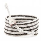 Dark Nuggets - 5 Wrap White Leather Bohemain Boho Bracelet