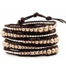 Pearl Ball Beads/Silver Nuggets - Chan Luu Inspired 5 Wrap Dark Brown Leather Bohemain Boho Bracelet