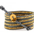 Gold Vermeil Nuggets - Chan Luu Inspired 5 Layers Wrap Grey Leather Bohemain Boho Bracelet