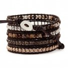 Brown Agate/Pearl Beads/Crystals - Chan Luu Inspired Bohemain 5 Wrap Leather Boho Bracelet