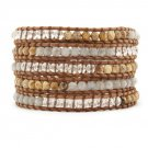 Tigereye Stone/Moonstone/Clear Crystal - 5 Wrap Brown Leather Bohemain Boho Bracelet