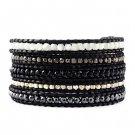 Agate/Hematite Stone/Plated Nuggets - Chan Luu Inspired 5 Wrap Black Leather Bohemain Boho Bracelet