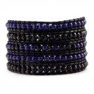 Agate / Lazurite - Chan Luu Inspired 5 Wrap Black Leather Bohemain Boho Bracelet