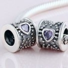 925 Sterling Silver Purple CZ Heart Barrel Drum Charm - for All European DIY Charm Bead Bracelets