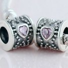 925 Sterling Silver Pink CZ Heart Barrel Drum Charm -for All European DIY Charm Bead Bracelets