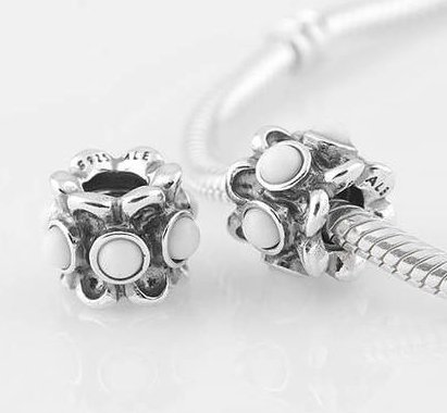 Sterling Silver Forget Me Not White Agate Charm - fits European Beads Bracelets