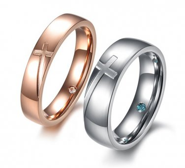 Set of Titanium Stainless Steel Silver & Gold Cross w Crystal Love Couple Ring Band