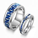 Set of Tungsten Carbide Blue Carbon Fiber Inlay Matching Couple Promise Wedding Ring