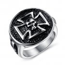 Stainless Steel Skull Design Celtic Cross Cast Men's Ring Biker Style