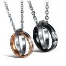 "Set of 316L Stainless Steel ""Eternal Love"" Couple CZ Rings Pendant Promise Necklace"