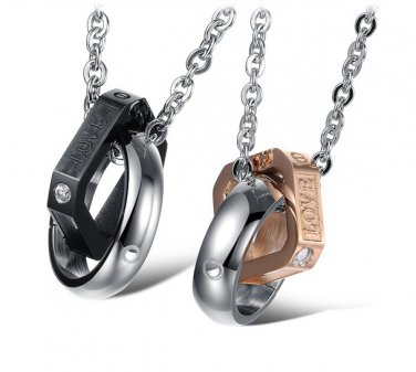 Set of 316L Stainless Steel Love Ring Square Black/Rose Gold Couple Pendant Necklace