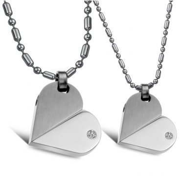 Set of 316L Stainless Steel Silver Heart Rotation Transformation Love Pendant Necklace