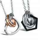 """Set of Stainless Steel """"Dream Come True"""" Rings Heart Pentagon Couple Lovers Pendant Necklace"""