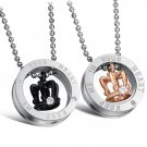"Set of Stainless Steel ""KEEP ME IN YOUR HEART"" Crown Lovers Couple Pendant Necklace"