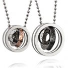 "Titanium Stainless Steel "" Eternal Love"" Tri-Rings Couple Pendant Necklace Set"