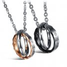 "316L Stainless Steel ""I will always be with you"" Rings Lover Couple Pendant Necklace Set"