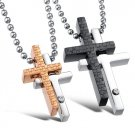 Titanium Stainless Steel Double Cross Couple Pendant Necklace Set