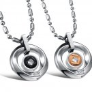 Titanium Stainless Steel Ring Pendant Necklace Set for Couple. Best Gift !
