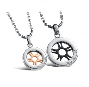 "Titanium Stainless Steel ""Love Forever"" Flywheel Couple Round Pendant Necklace Set"