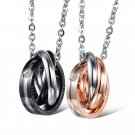 Titanium Stainless Steel Tri-CZ Rings Couple Promise Pendant Necklace Set
