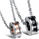 "Titanium Stainless Steel ""DEEP LOVE"" Barrel Couple Pendant Necklace Set"