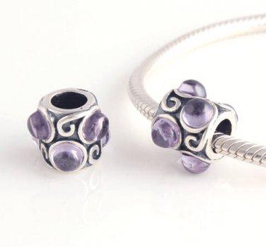 925 Silver Amethyst Purple Cabochon Crystal Charm - fits European Beads Bracelets