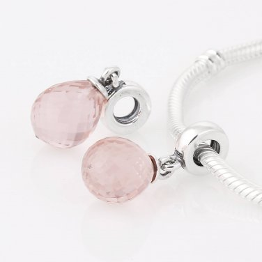 925 Silver Fascinating Pink Faceted Glass Drop Dangle Charm - fits European Beads Bracelets