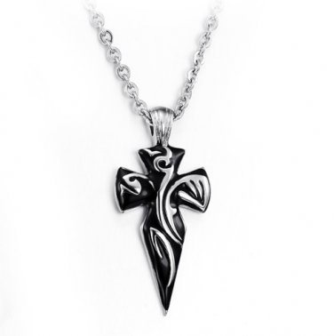 Stainless Steel Tribal Design Arrow Cross Biker Pendant Necklace