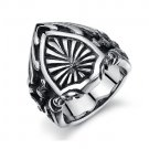 Titanium Stainless Steel Celtic Medieval Shield Armour Biker Gothic Mens Ring Band