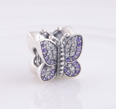 Sterling Silver Sparkling Butterfly Purple/Clear CZ Charm - fits European Beads Bracelets