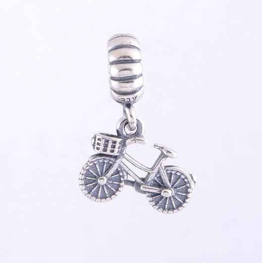 Sterling Silver Bicycle Dangle Pendant Charm - fits European Beads Bracelets
