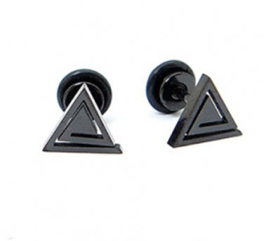 Pair Black Spiral Triangle Surgical Steel Earring Stud Fake Ear Stretcher Mens/Lady's