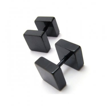 Pair Surgical Stainless Steel Black Square Barbell Earring Fake Plug Stud Mens/Lady's