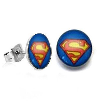 Pair Surgical Stainless Steel Superman Post Earrings Stud Mens/Lady's
