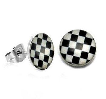 Pair Surgical Stainless Steel Checker Board Post Earrings Stud Mens/Lady's