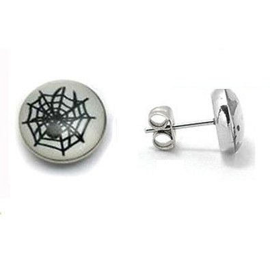 Pair Surgical Stainless Steel Spider Web Post Earrings Stud Mens/Lady's
