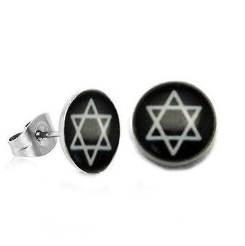 Pair Surgical Stainless Steel White Hexagram Post Earrings Stud Mens/Lady's