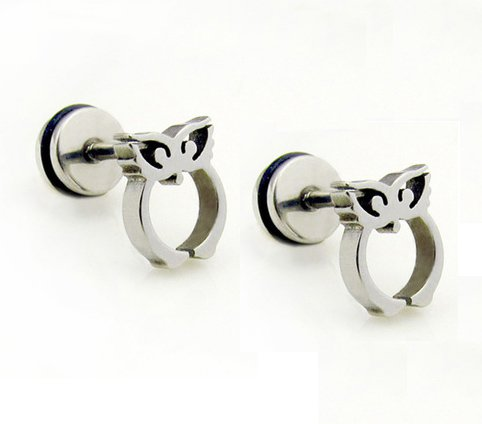 Pair Surgical Stainless Steel Silver Owl Earring Stud Mens/Lady's