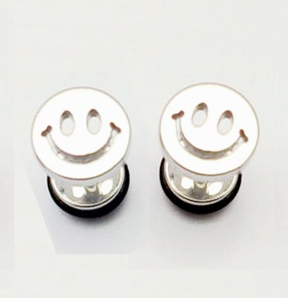 Pair Surgical Stainless Steel Silver Smiley Face Earring Stud Mens/Lady's