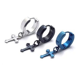 Any Pair Black/Blue/Silver Surgical Stainless Steel Mini Medieval Cross Drop Hoop Huggie Mens