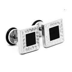 Pair Surgical Stainless Steel 10mm Black Square G Pattern Earrings Stud Mens/Lady's