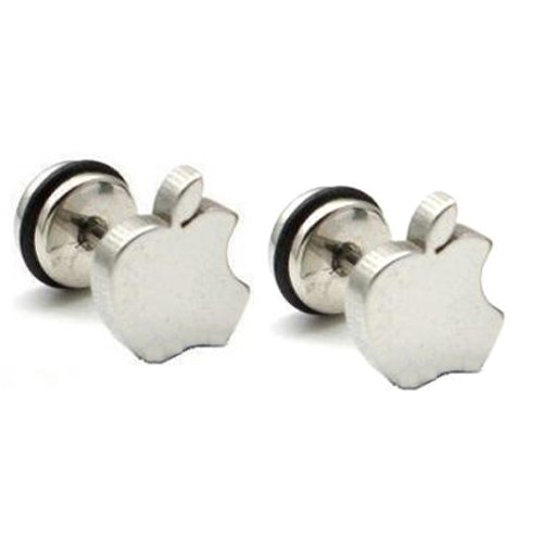 Pair Surgical Stainless Steel Silver Bitten Apple Stud Earring Mens/Lady's