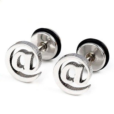 Pair Surgical Stainless Steel Silver @ Symbol E-mail Earrings Stud Fake Ear Stretcher Mens