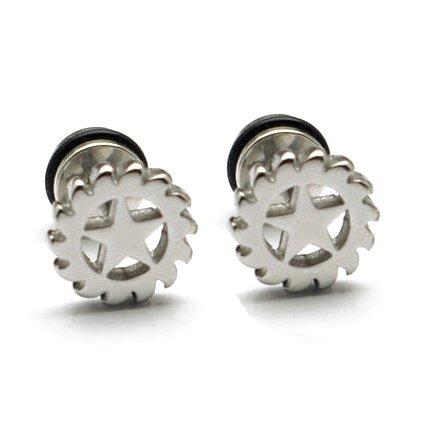 Pair Surgical Stainless Steel Silver Star Gear Fake Ear Plug Earrings Stud Mens
